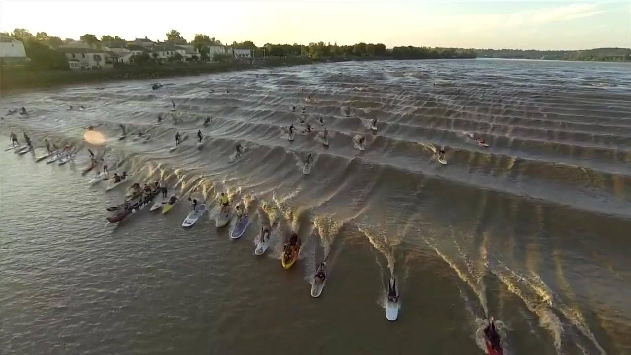Surfeando Un Río En Grupo