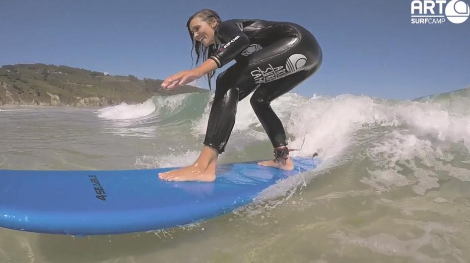 Primera Clase De Surf De Inma Soria, Bloguera De Moda, En Artsurfcamp